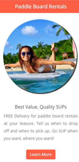 Free delivery to your home or to the beach for your SUP rental