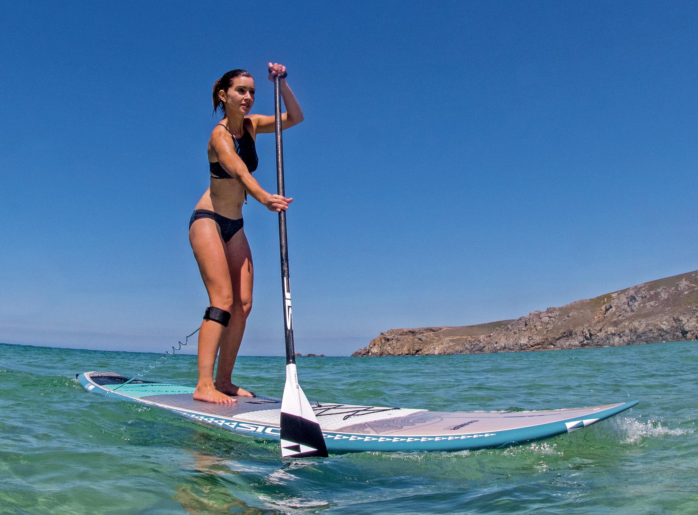 Paddle board test run on open ocean