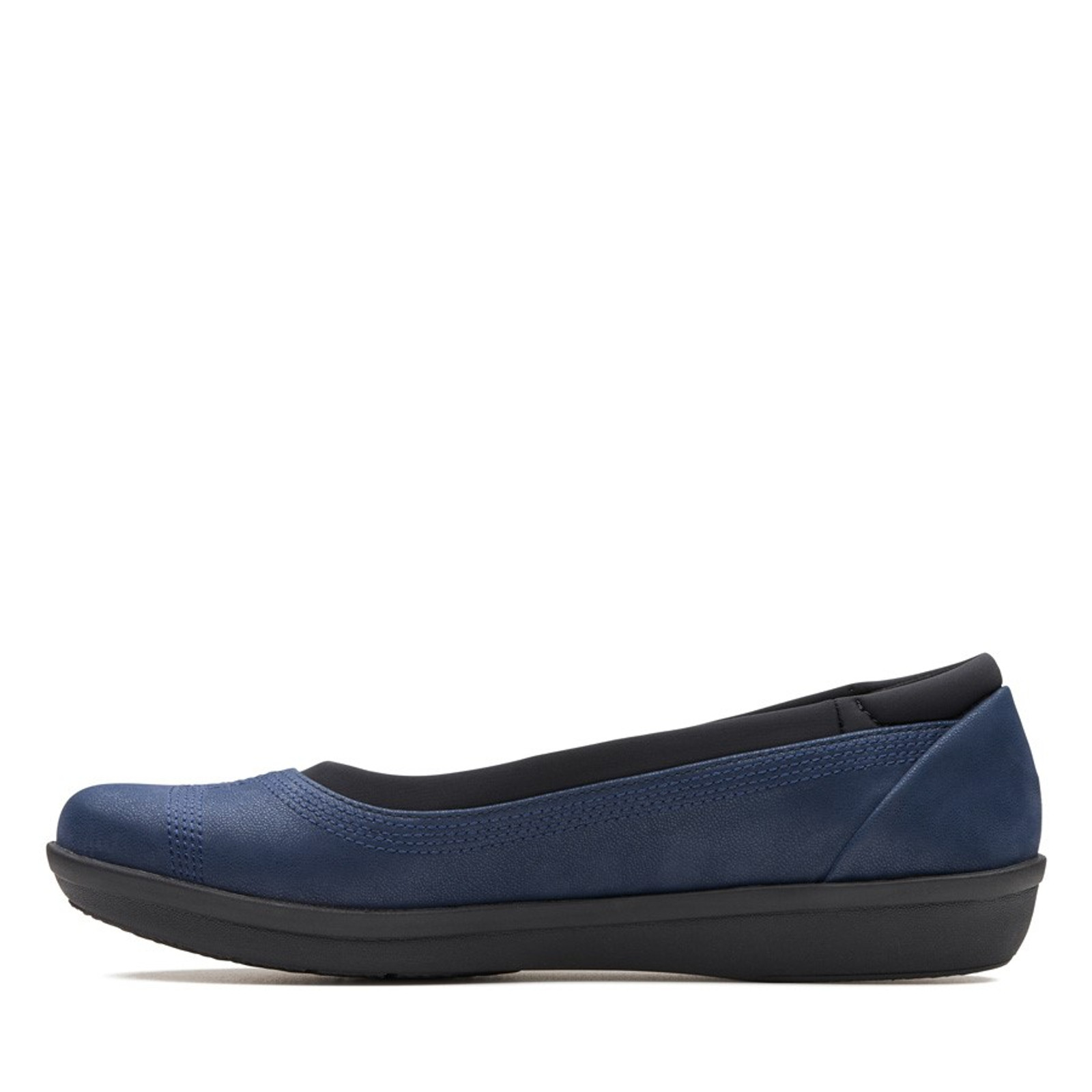 Clarks Womens AYLA LOW Navy Synthetic
