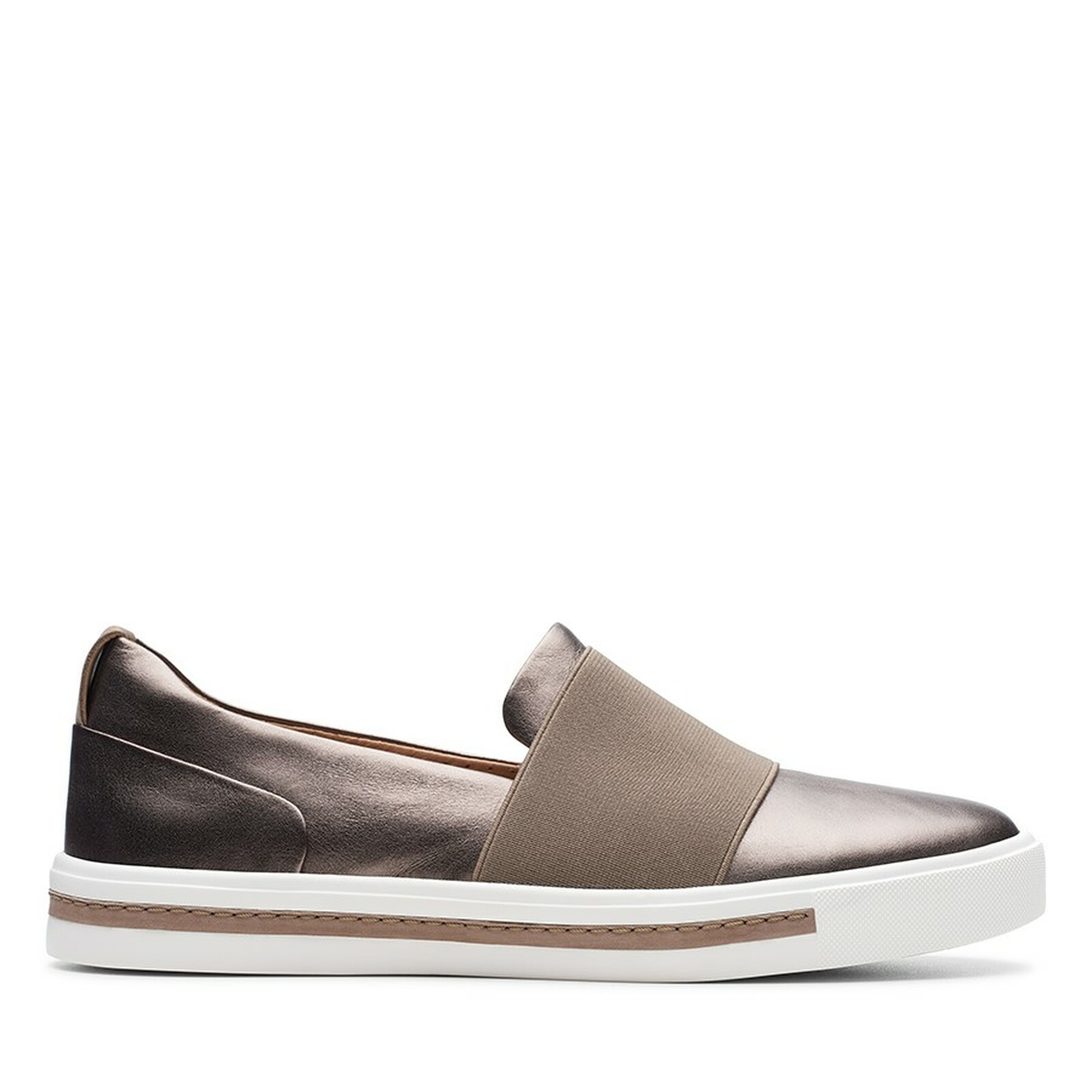 Clarks Womens UN MAUI STEP Pebble Metallic Leather