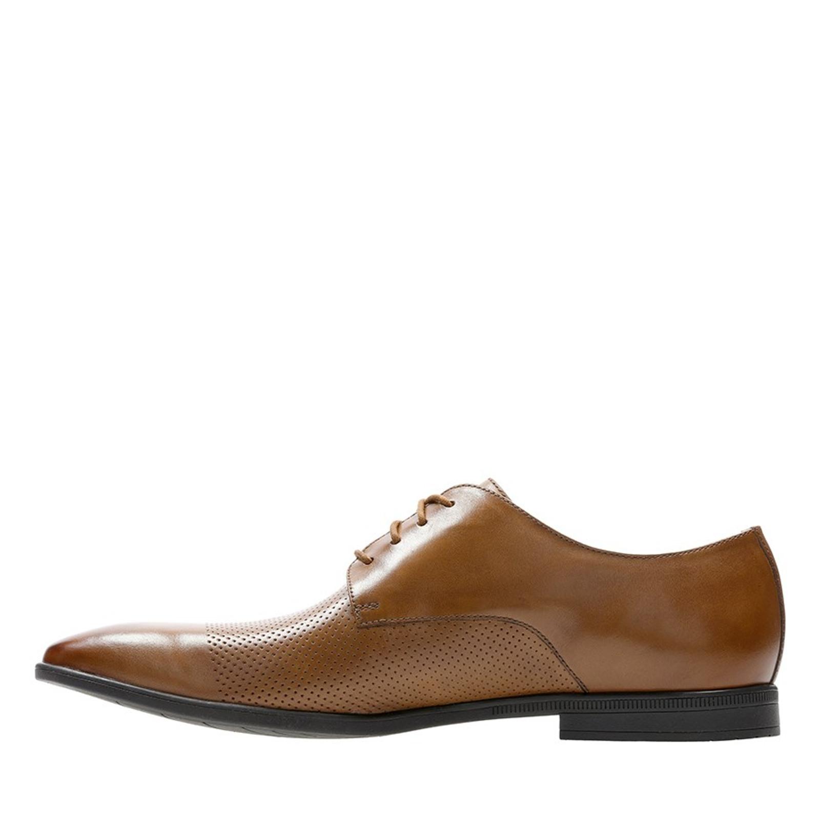 Clarks Mens BAMPTON CAP Tan Leather