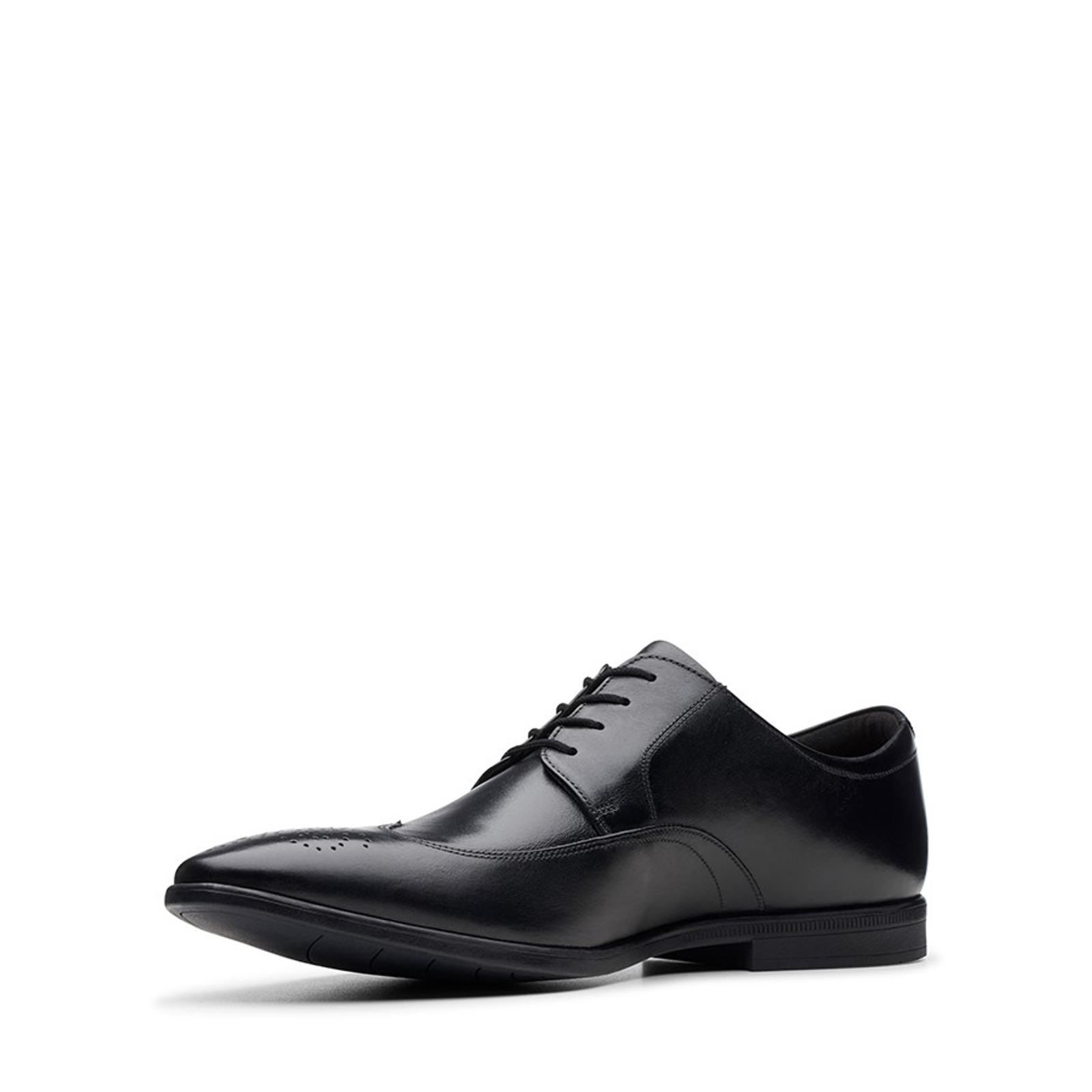 Clarks Mens BAMPTON WING Black Leather