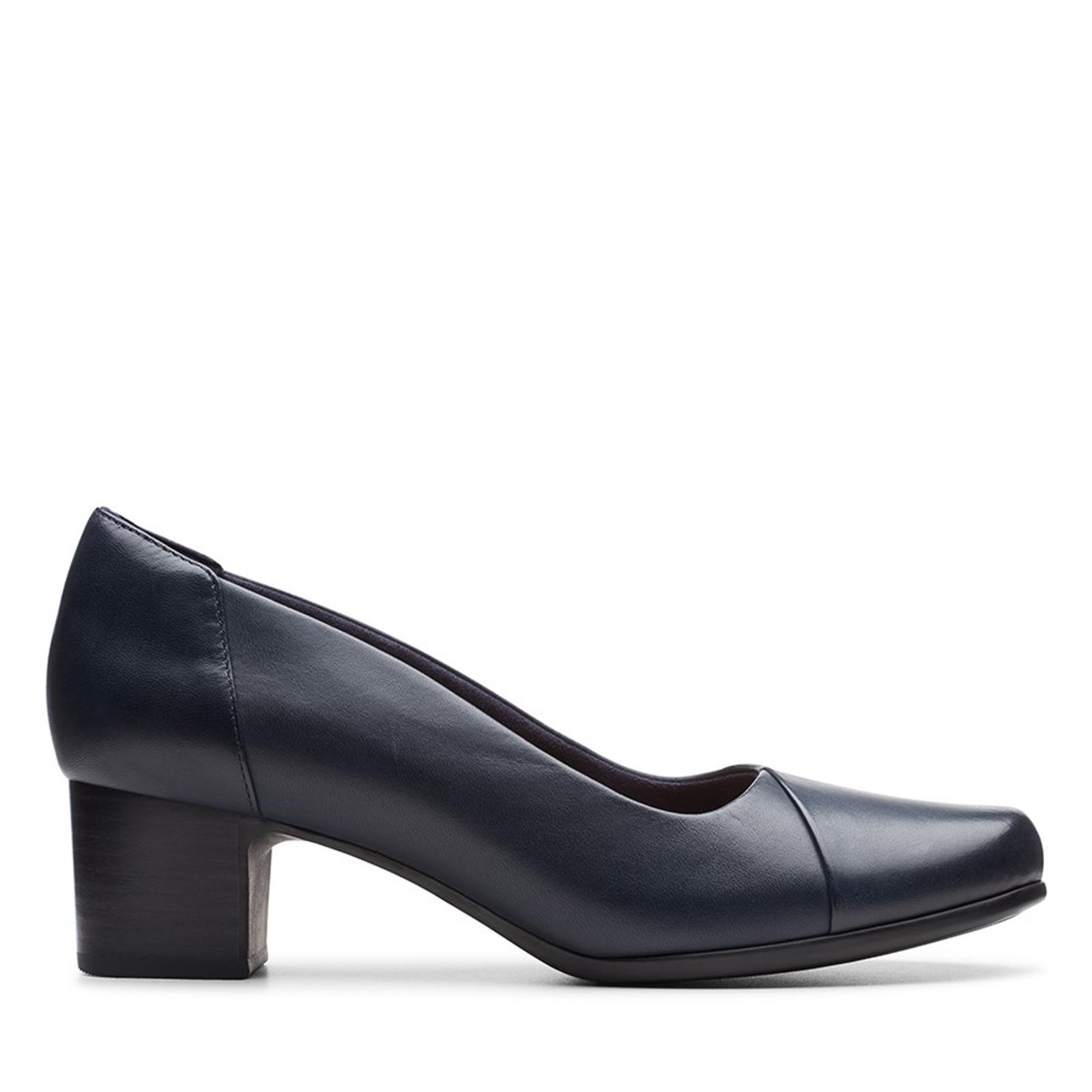 Clarks Womens UN DAMSON STEP Navy Leather