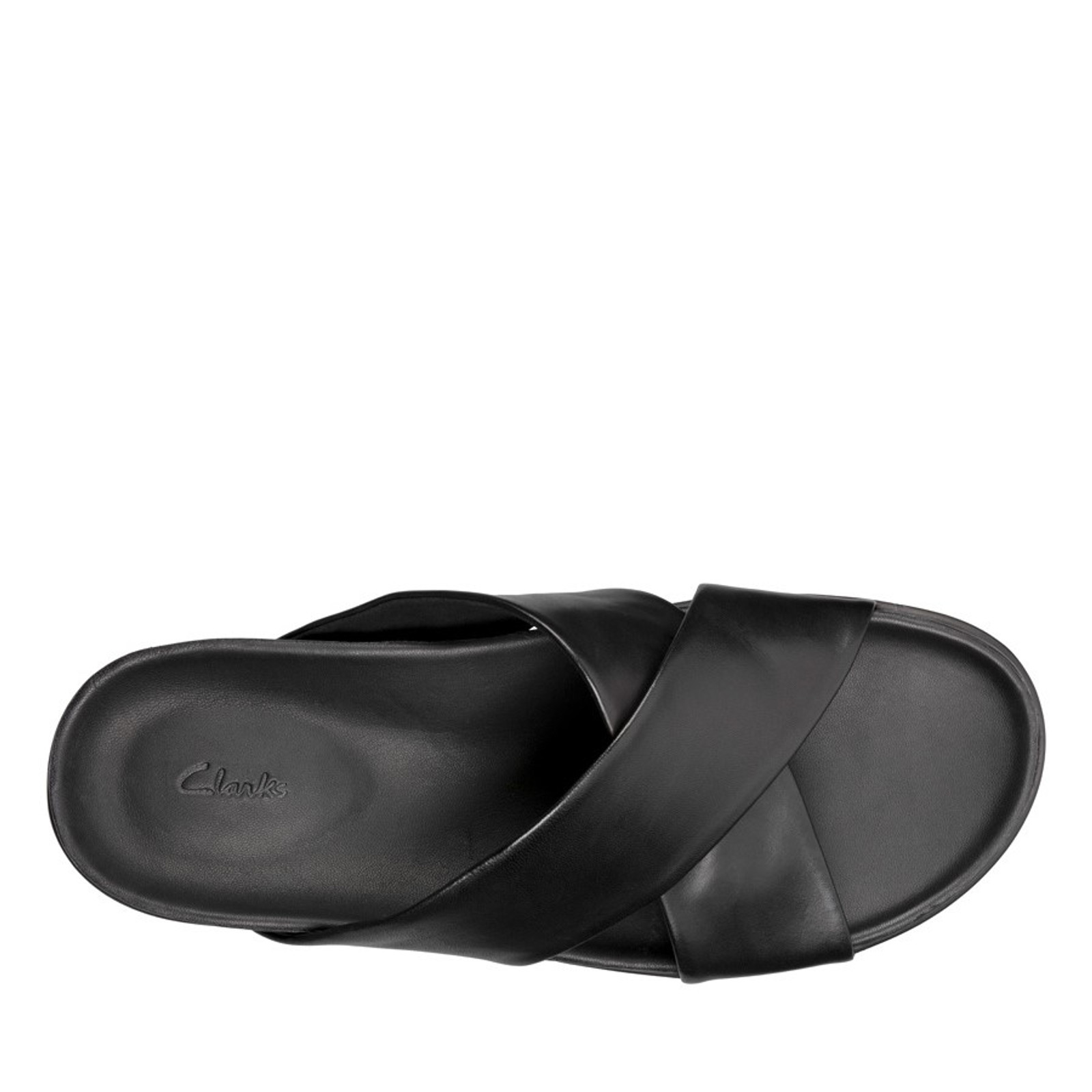 Clarks Mens SUNDER CROSS Black Leather