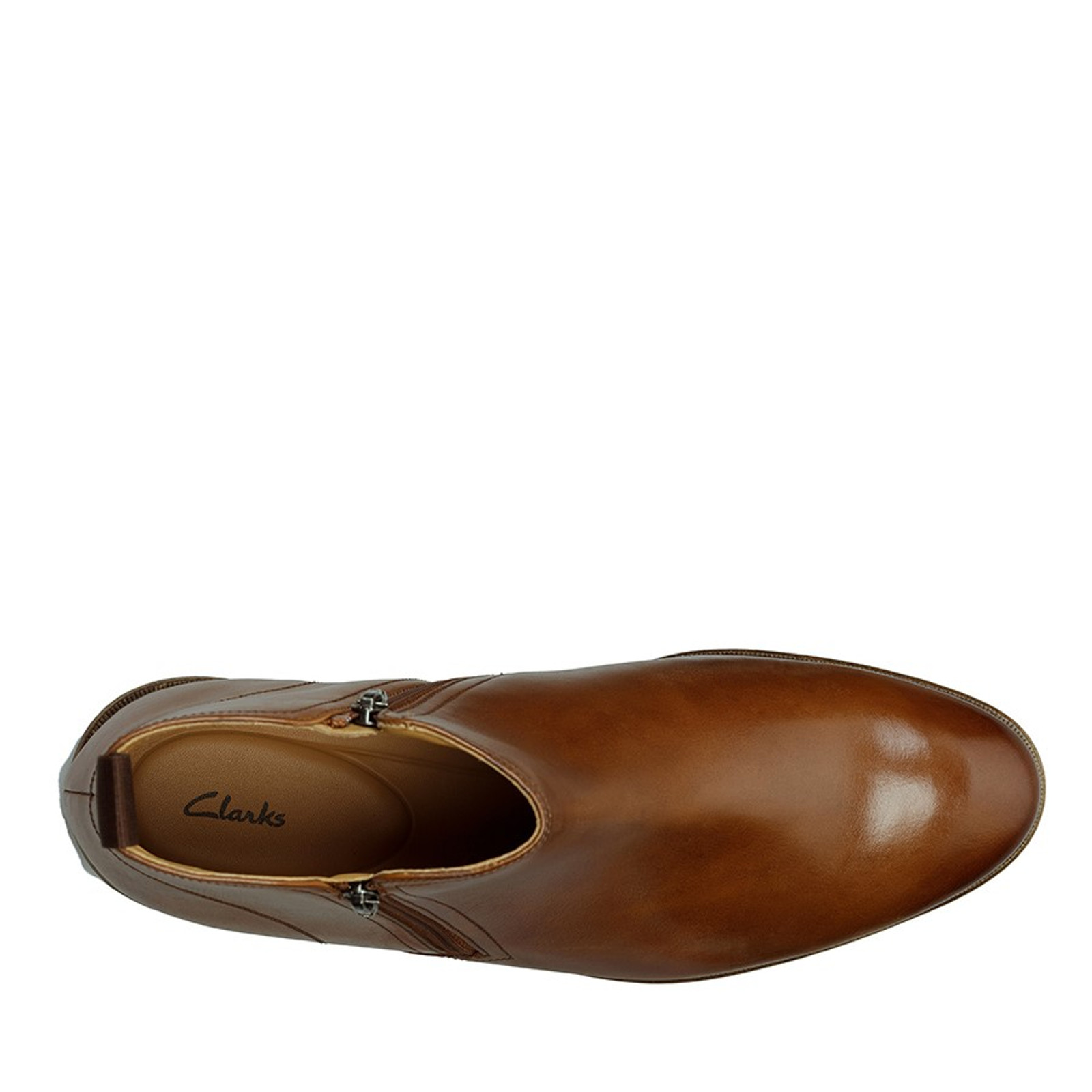 Clarks Mens STANFORD ZIP Tan Leather
