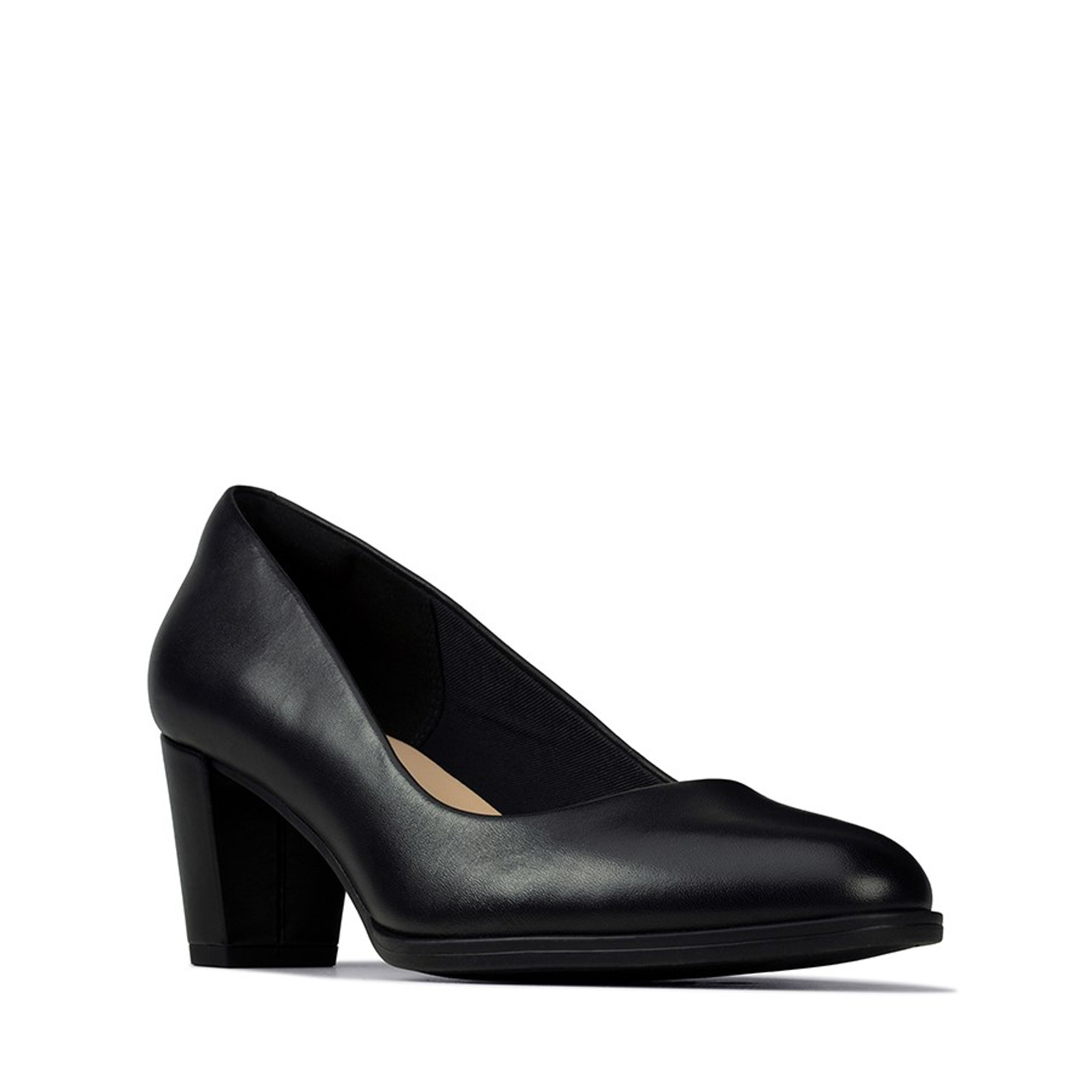 Clarks Womens KAYLIN60 COURT Black Leather