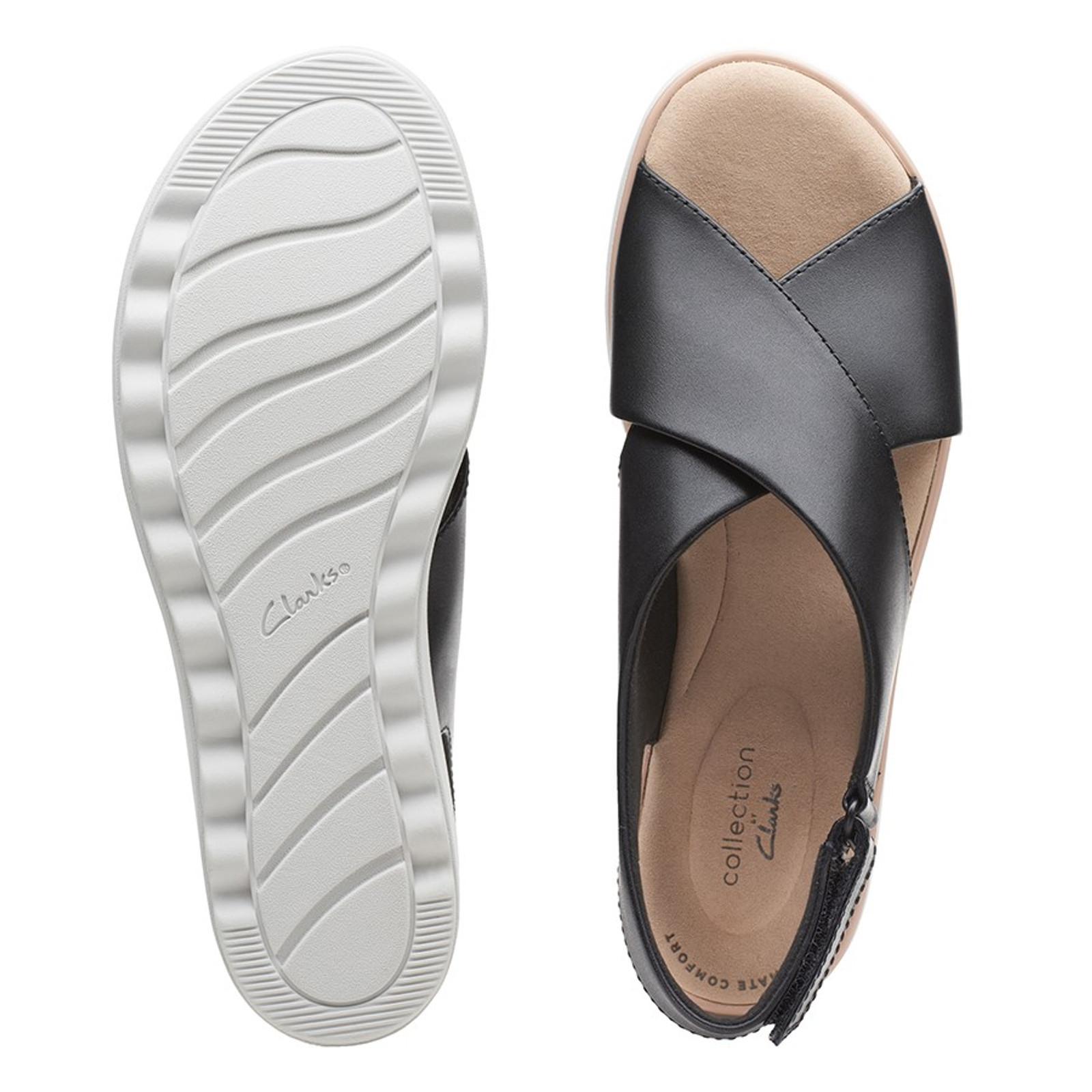 Clarks Womens JILLIAN JEWEL Black Leather/Textile Combo