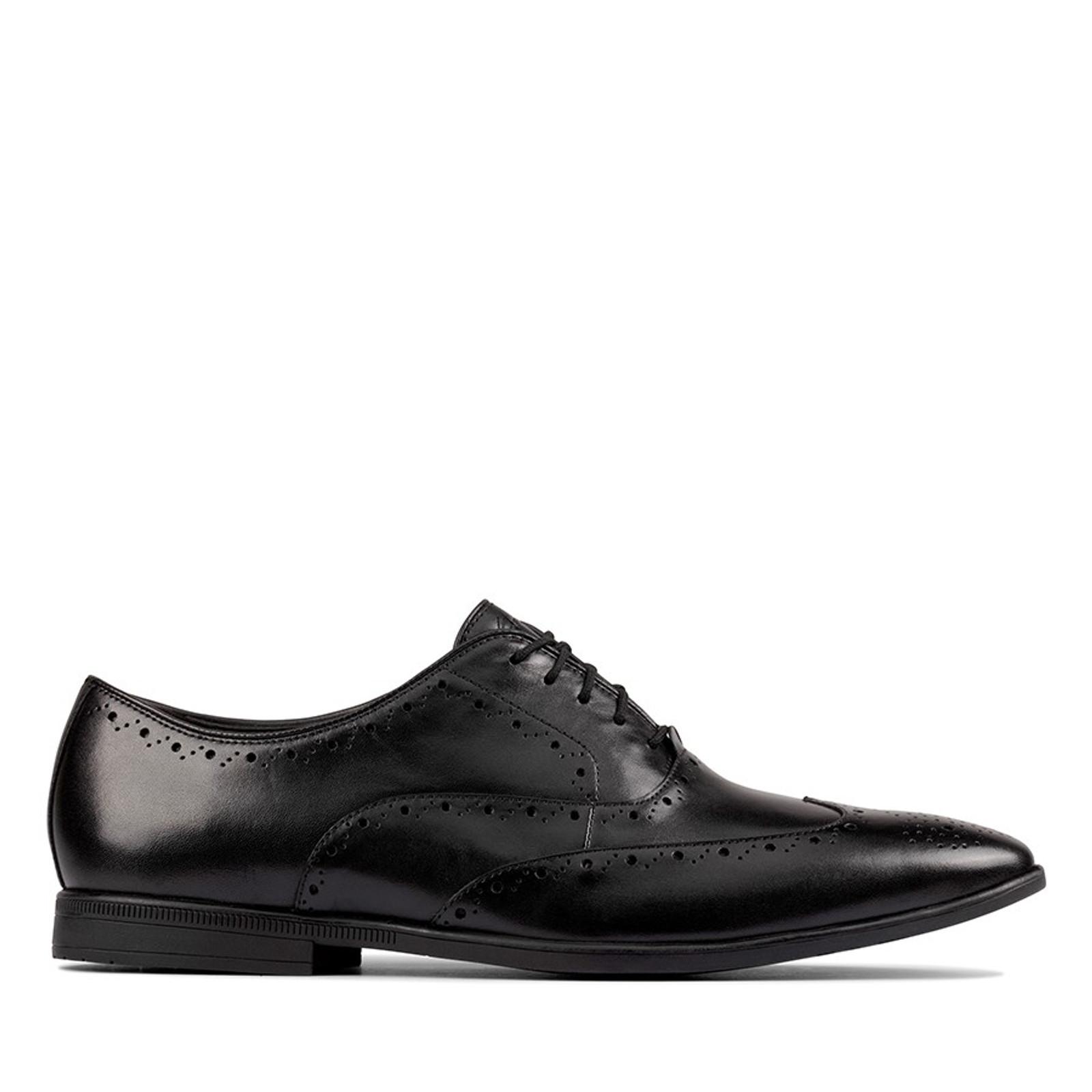 Clarks Mens BAMPTON RHODES Black Leather