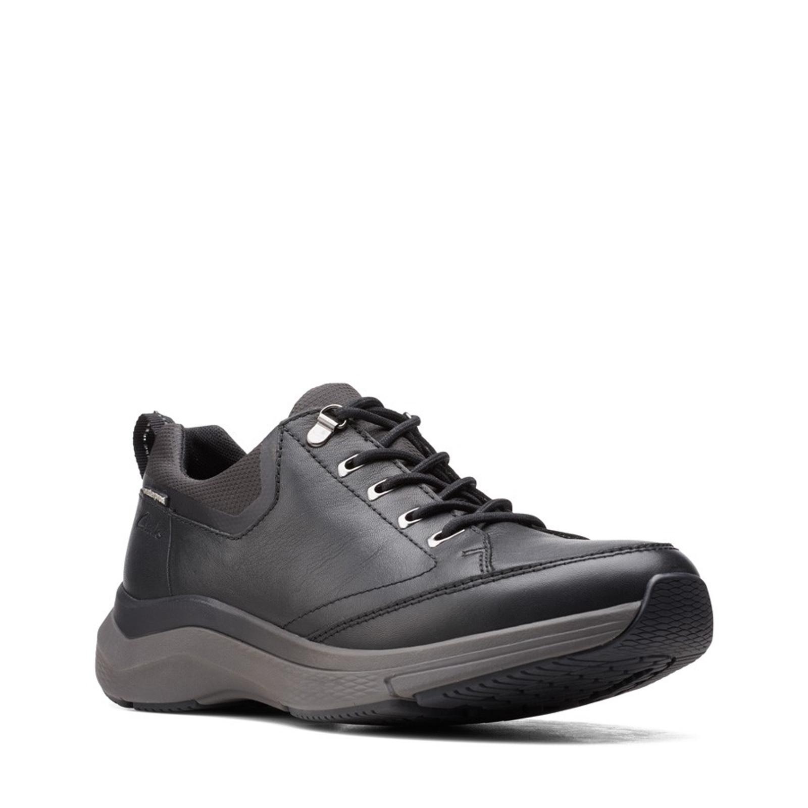 Clarks Mens WAVE2.0 VIBE Black Tumbled Leather