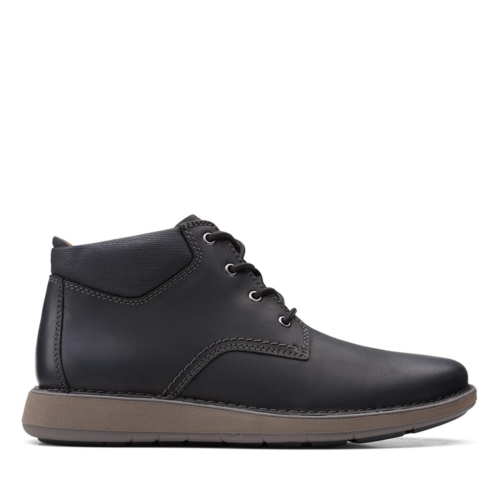 Clarks Mens UN LARVIK TOP2 Black Oily Leather