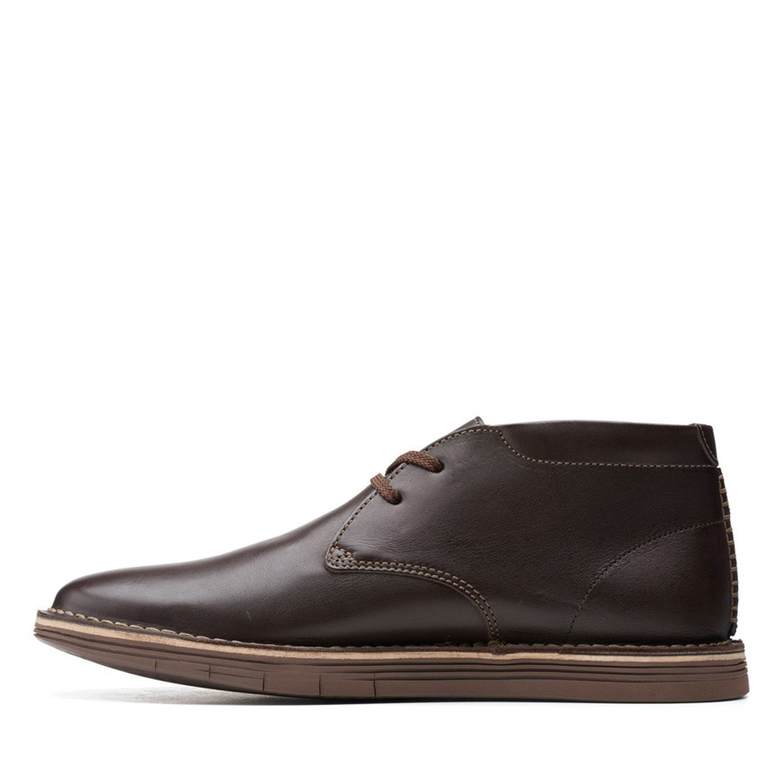 Clarks Mens FORGE STRIDE Dark Brown Leather
