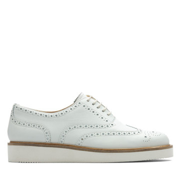 Clarks Baille Brogue White Leather