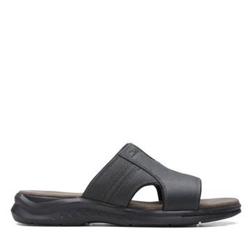 Clarks Hapsford Slide Black Tumbled Leather