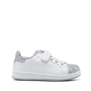 Clarks Diana Jnr White/Silver Glitter
