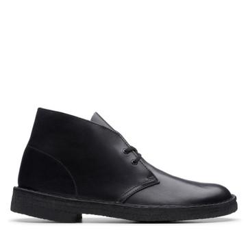 Clarks Desert Boot (M) Black Leather