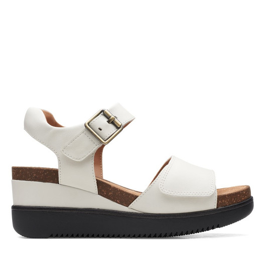 Clarks Womens Lizby Strap White Leather