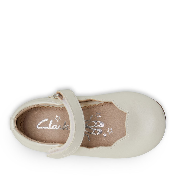 Clarks Girls Audrey II Junior White Pearl