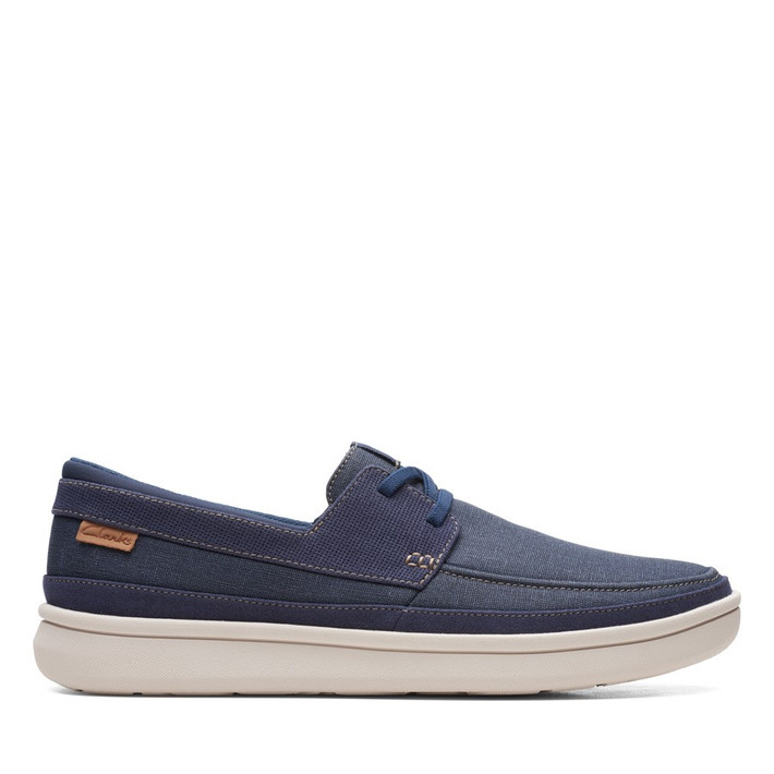Clarks Mens CANTAL LACE Navy Canvas
