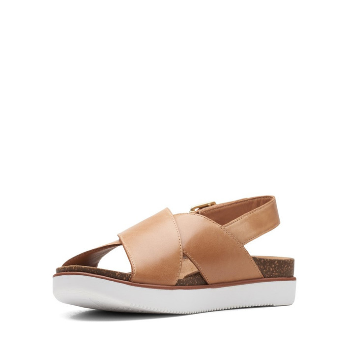 Clarks Womens Elayne Cross Sand Leather