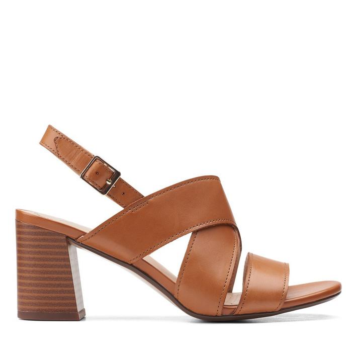 Clarks Womens Jocelynne Bao Tan Leather