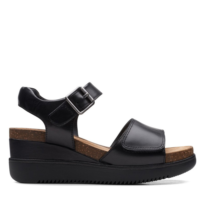 Clarks Womens Lizby Strap Black Leather