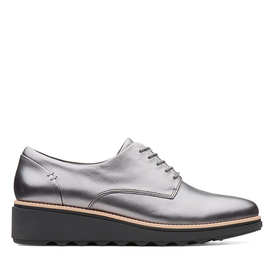 Clarks Sharon Noel Gunmetal Metallic Leather