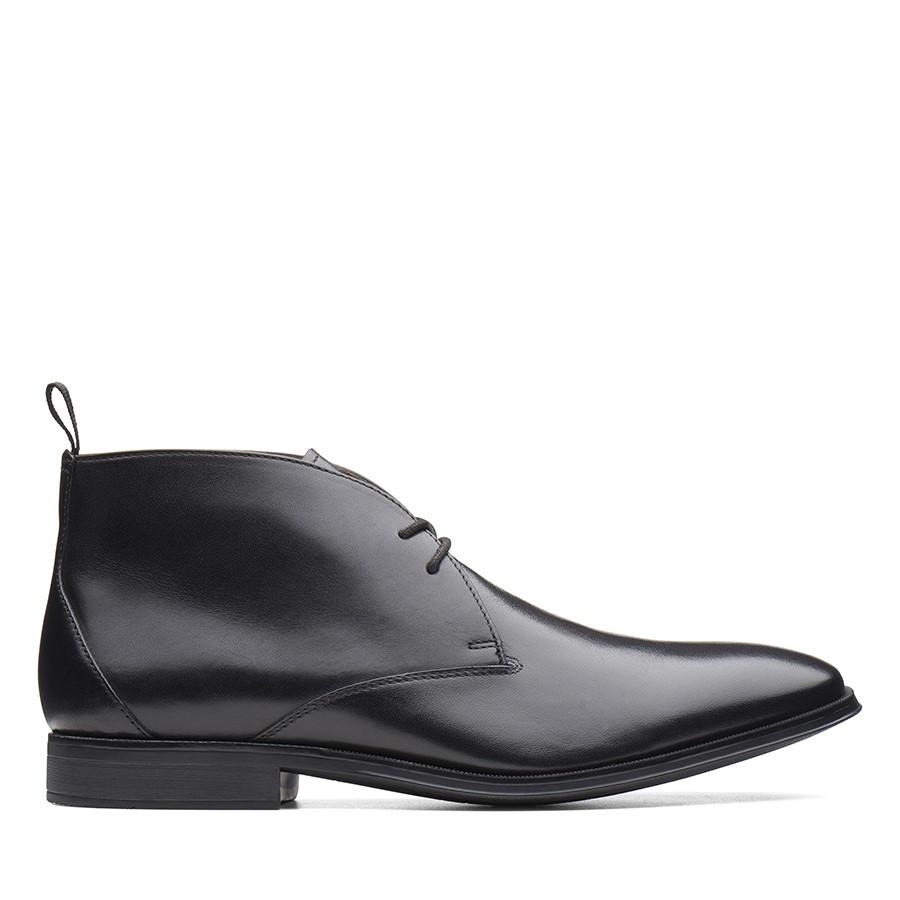 Clarks Gilman Mid Black Leather