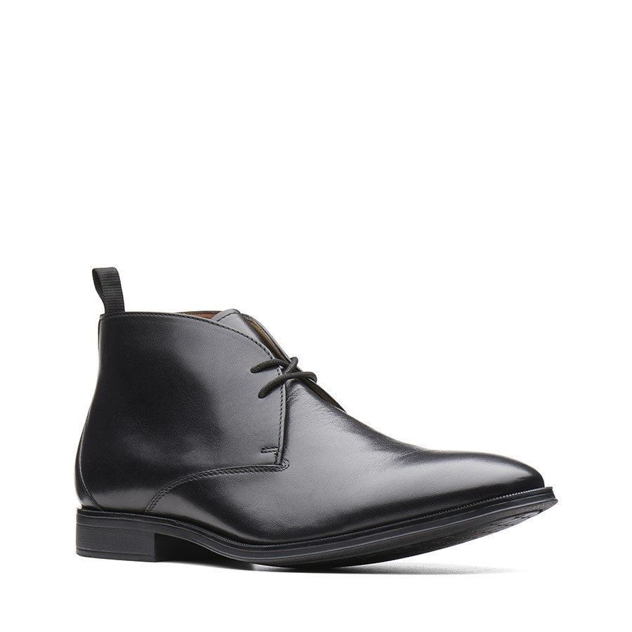 Clarks Gilman Mid Black Leather