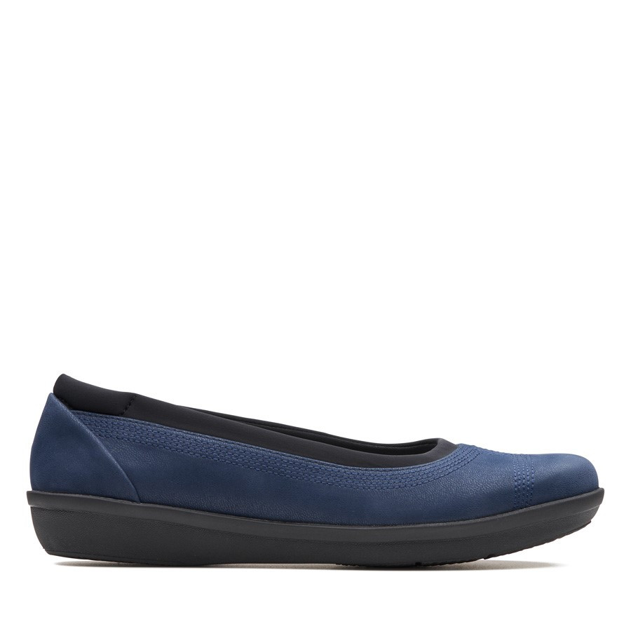 Clarks Ayla Low Navy Synthetic