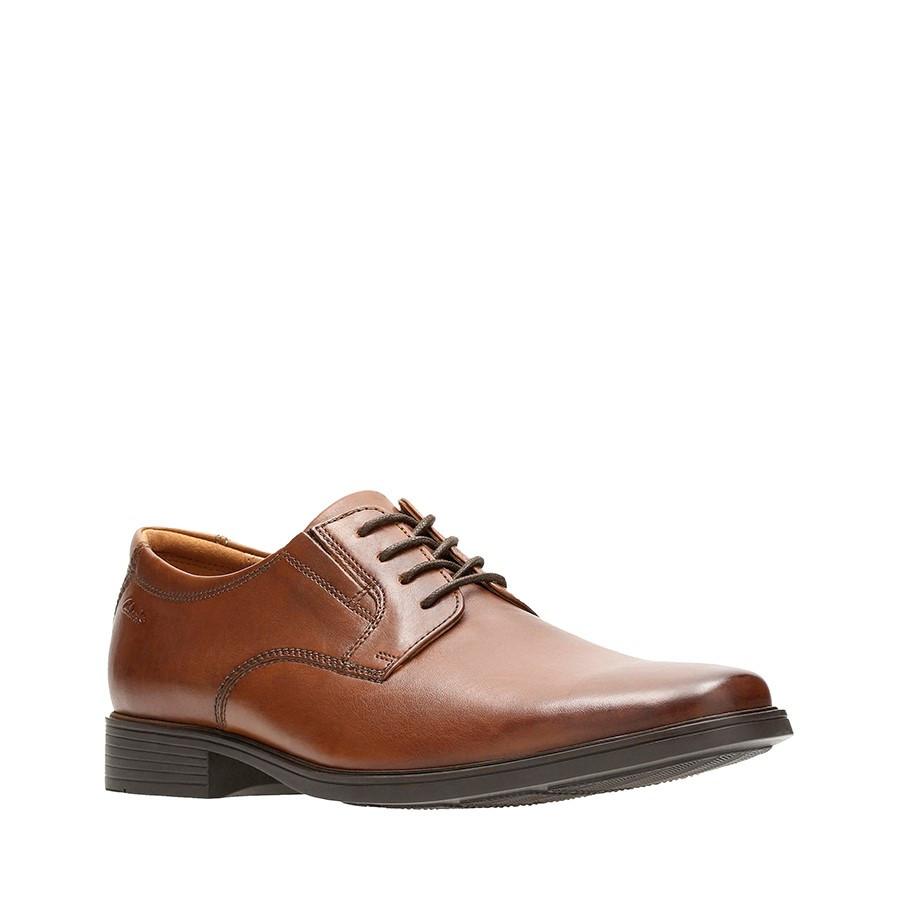 Clarks Tilden Plain Dark Tan Leather