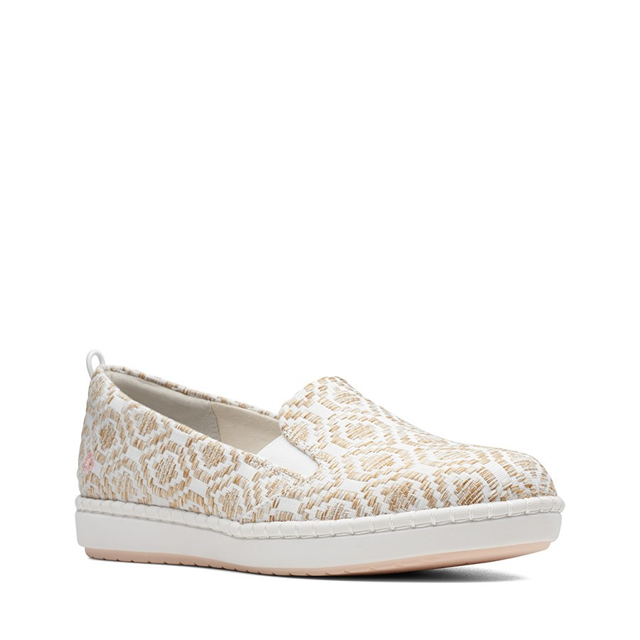 Clarks Step Glow Slip Natural Canvas