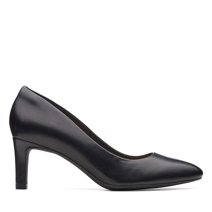 Clarks Calla Rose Black Leather/Black