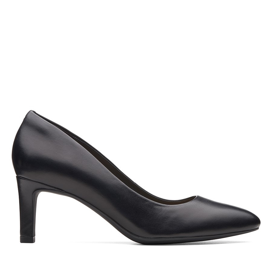 Clarks Calla Rose Black Leather/Black