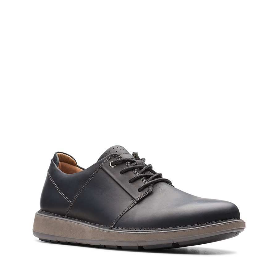 Clarks Un Larvik Lace Black Oily Leather