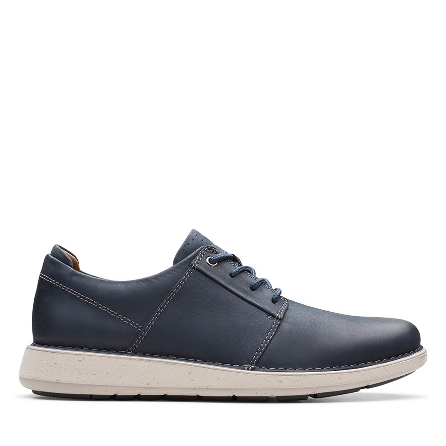 Clarks Un Larvik Lace Navy Oily Leather