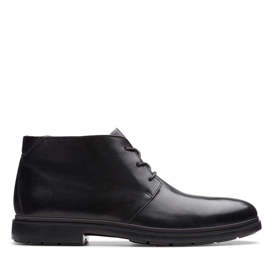 Clarks Un Tailor Mid Black Leather