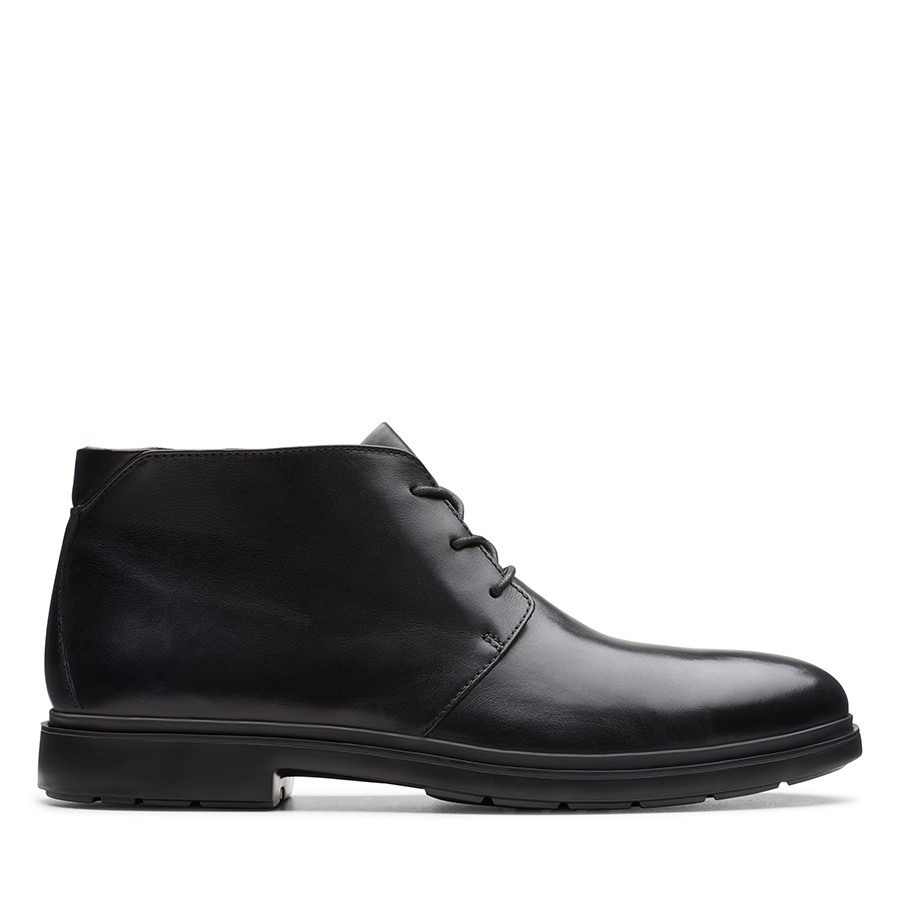 Clarks Un Tailor Mid Black Leather