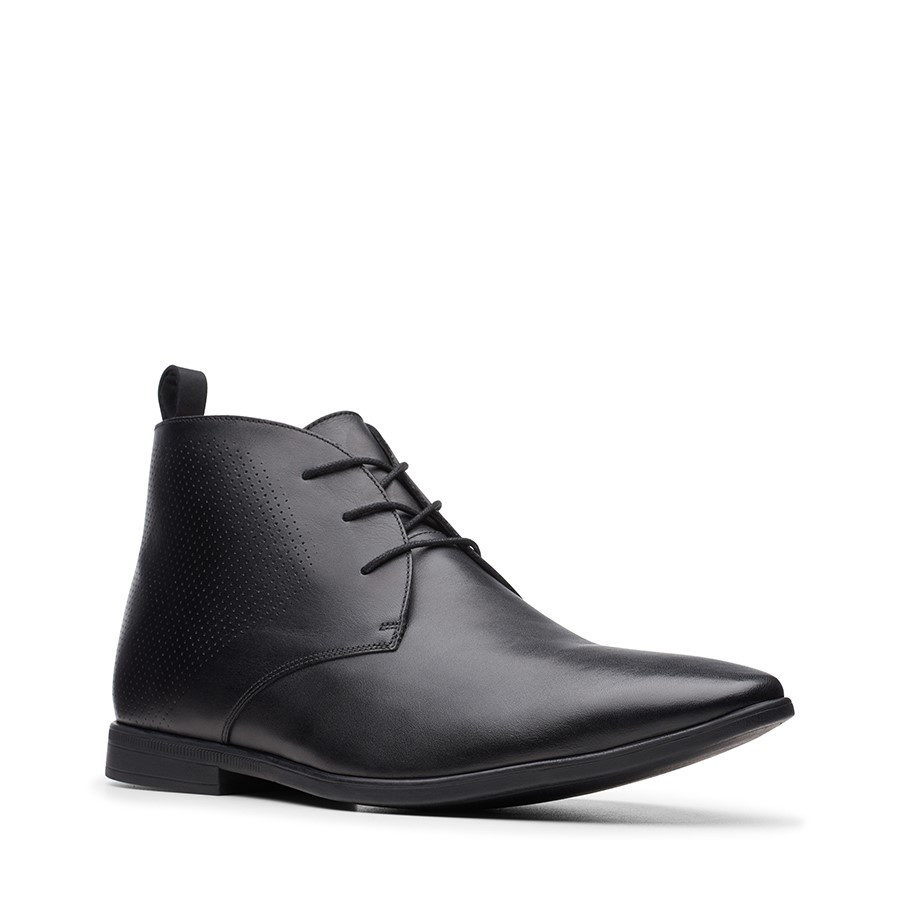 Clarks Bampton Up Black Leather