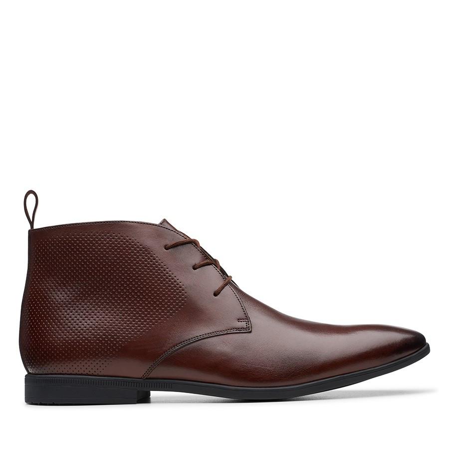 Clarks Bampton Up Mahogany Leather