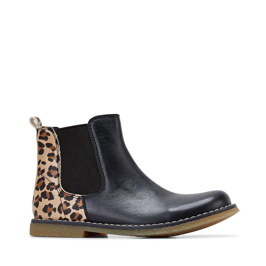 Clarks Chelsea Black Leopard