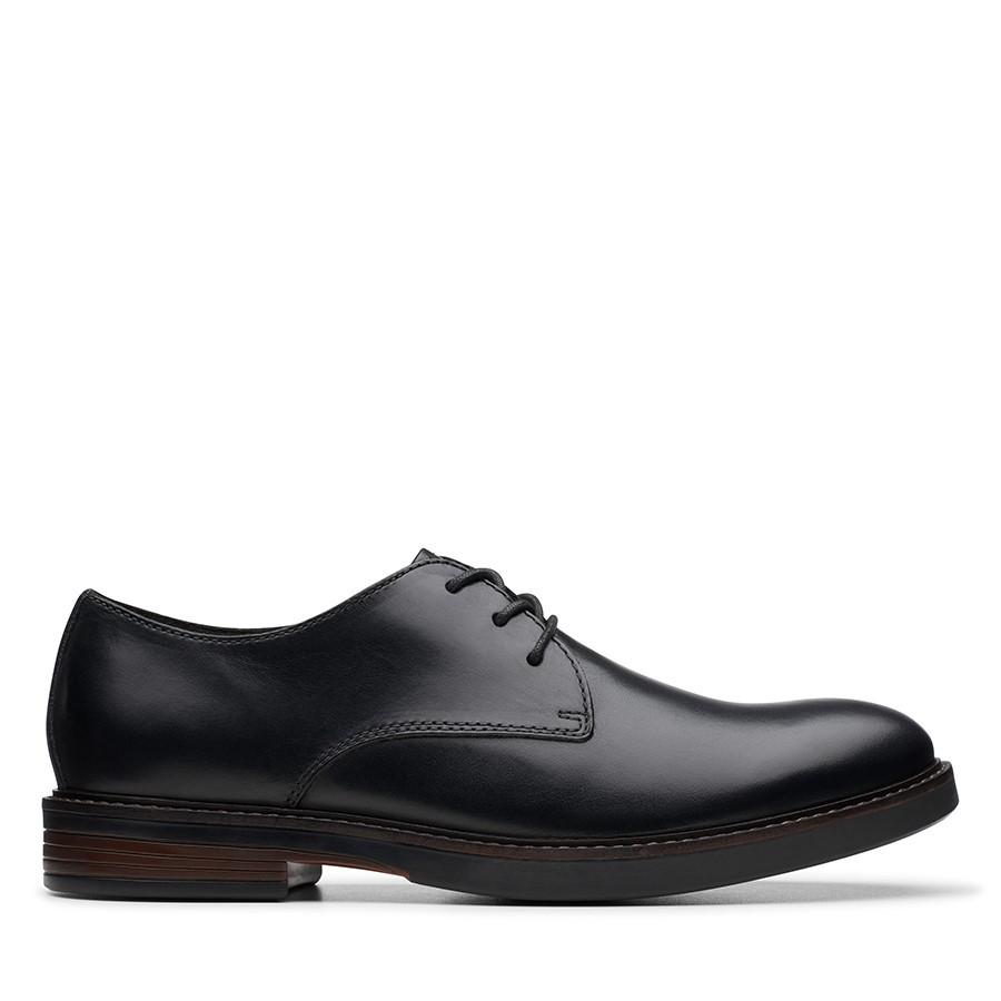 Clarks Paulson Plain Black Leather