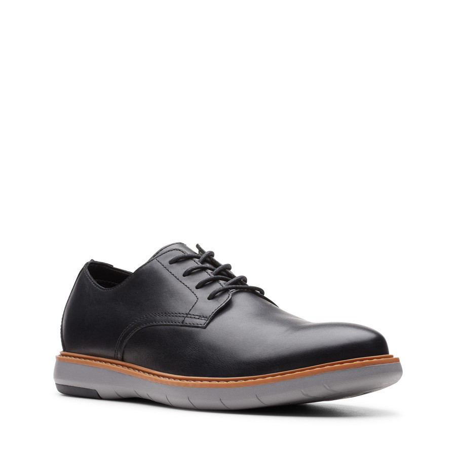 Clarks Draper Lace Black Leather/Grey Sole