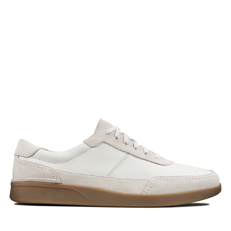 Clarks Oakland Run White Leather