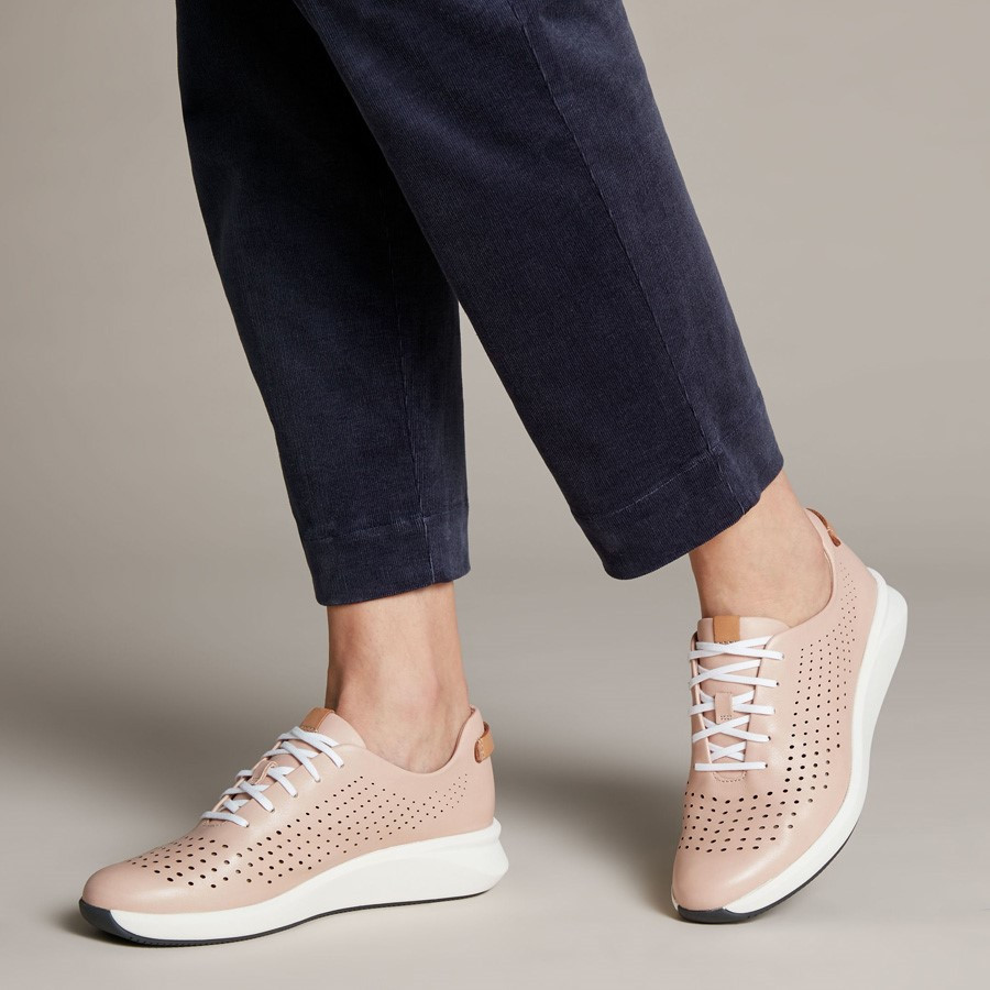 Clarks Un Rio Tie Blush Leather