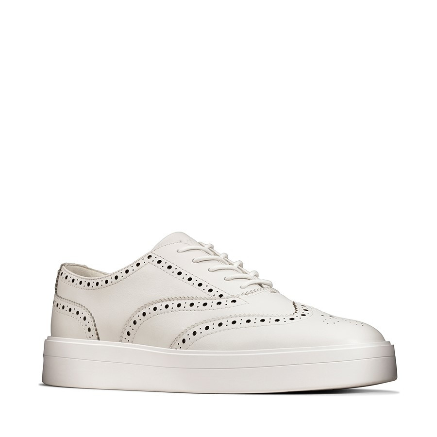 Clarks Hero Brogue Womens White Leather
