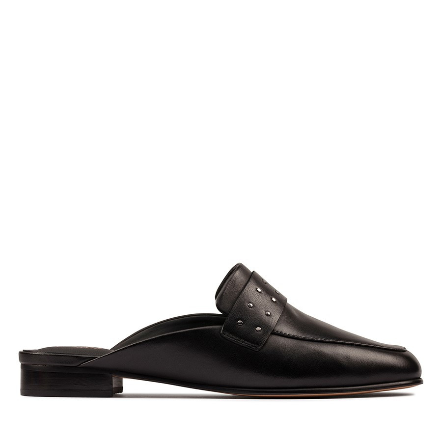 Clarks Pure Mule Black Leather