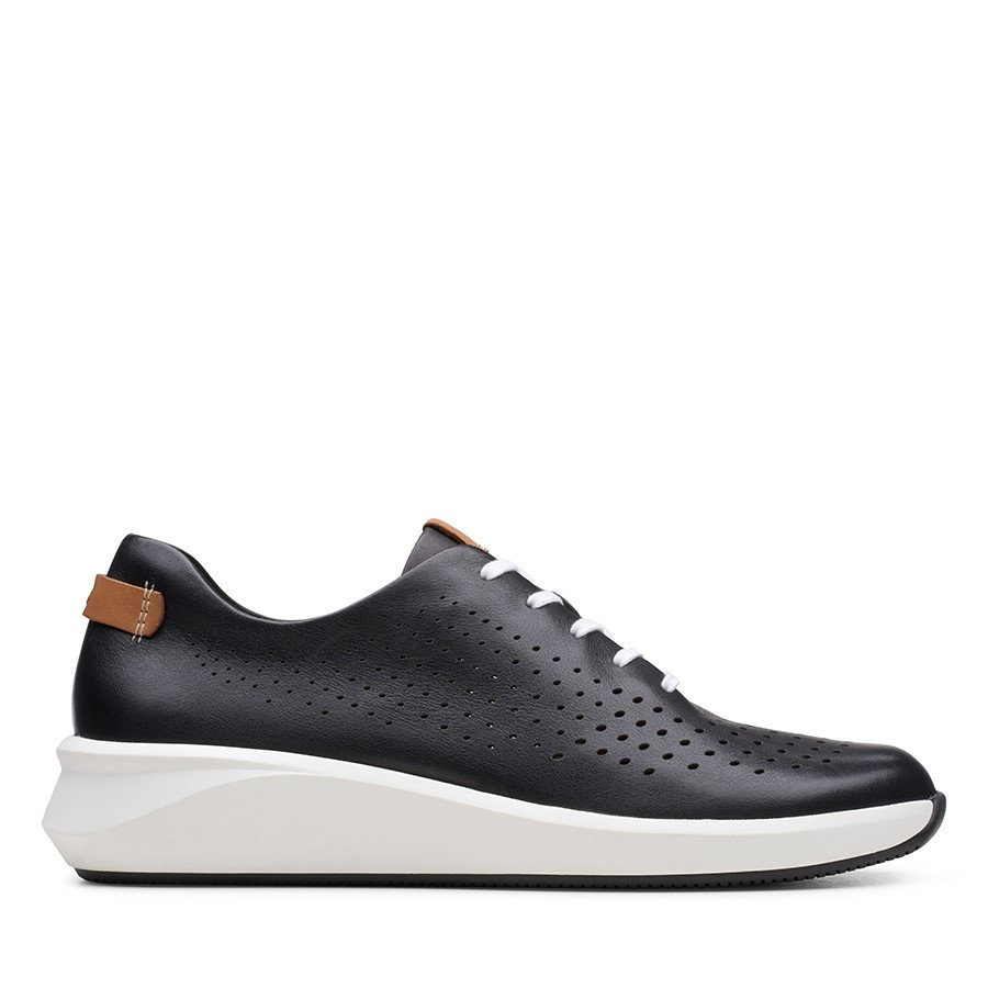 Clarks Un Rio Tie Black Leather