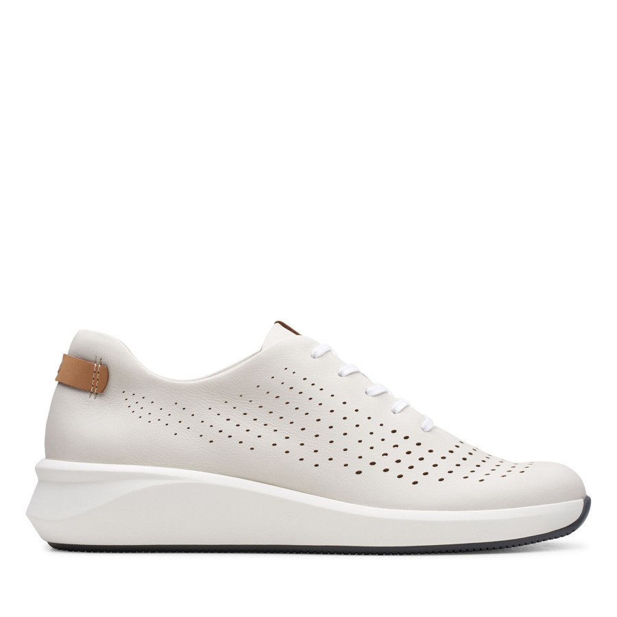 Clarks Un Rio Tie White Leather