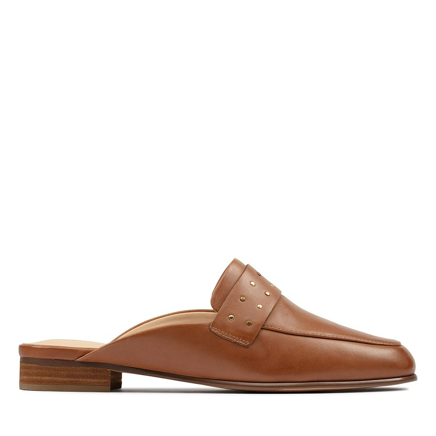 Clarks Pure Mule Tan Leather