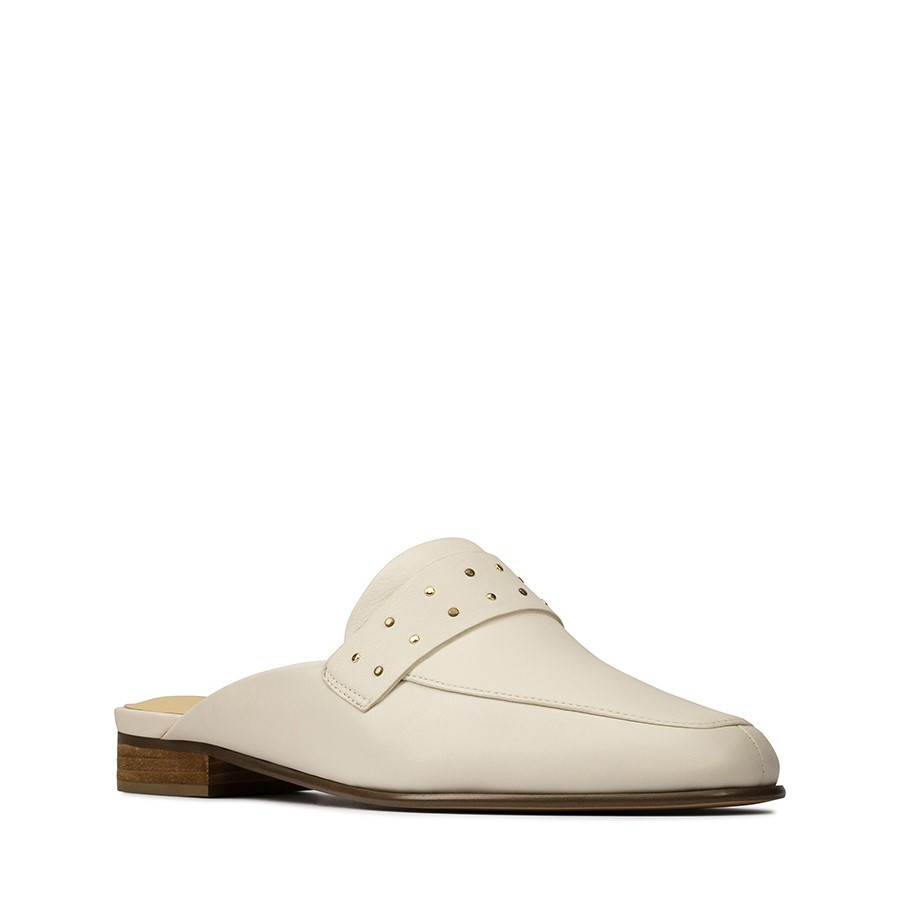 Clarks Pure Mule White Leather